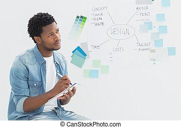 artysta, notatki, whiteboard, pisanie, zamyślony, przód
