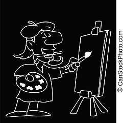 artysta, rysunek, praca