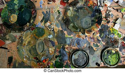 artysta, studio, barwiony, brudny, stół