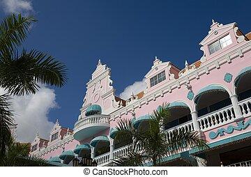 aruba - colorful houses in caribbean
