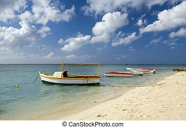 fishing boats on coastline of Aruba