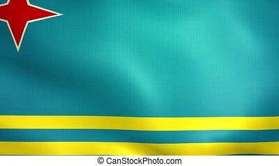 Aruba Flag. Background Seamless Looping Animation.