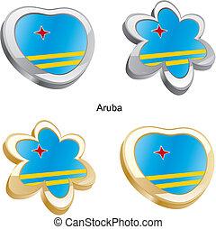 aruba flag heart and flower