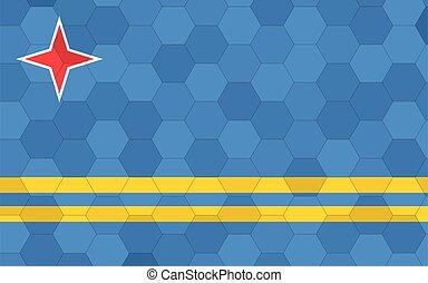 Aruba flag illustration. Futuristic Aruban flag graphic with abstract hexagon background vector. Aruba national flag symbolizes independence.