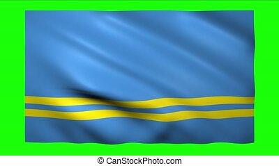 Aruba flag on green screen for chroma key