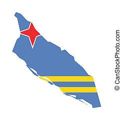 Aruba flag on map