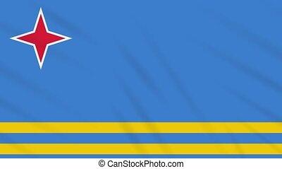 Aruba flag waving cloth background, loop