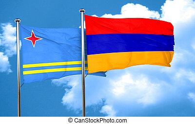 aruba flag with Armenia flag, 3D rendering