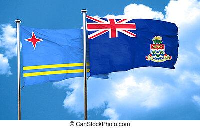 aruba flag with Cayman islands flag, 3D rendering