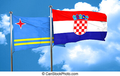 aruba flag with Croatia flag, 3D rendering