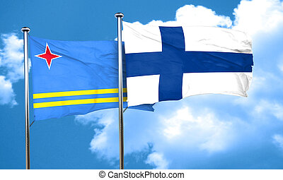 aruba flag with Finland flag, 3D rendering