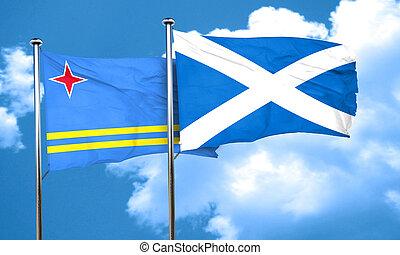 aruba flag with Scotland flag, 3D rendering