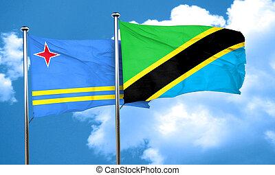 aruba flag with Tanzania flag, 3D rendering