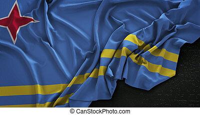 Aruba Flag Wrinkled On Dark Background 3D Render