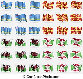 Aruba, Macedonia, Wales, Burundi. Set of 36 flags of the countries of the world. Vector