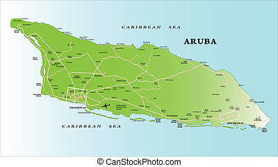 Highly detailed vector map of Aruba with administrative regions, main cities and roads.