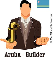 Aruba national currency Aruban florin symbol representing money and Flag. Vector design concept of businessman in suit with his open hand over with currency isolated on white background in EPS10.