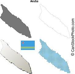 Aruba outline map set