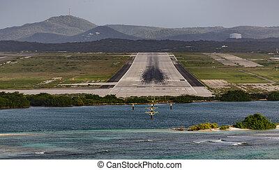 aruba, pista, fine, aeroporto