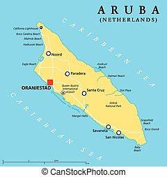 aruba, politique, carte