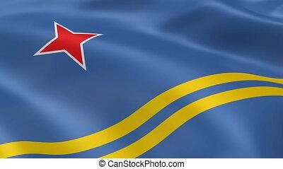 Aruban flag in the wind