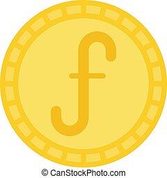 Aruban florin coin vector icon, currency of Aruba