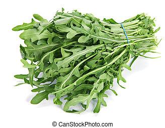Arugula herb - Arugula fresh heap leaf on white backgroung