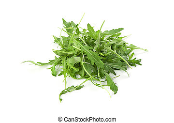 Arugula leaves isolated on white