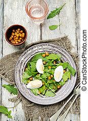 arugula, oeufs, pois chiches, salade, rôti