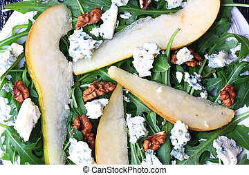 arugula pear salad blue cheese walnut