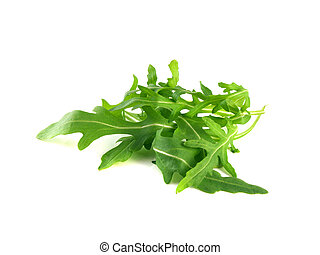 Arugula, rucola fresh heap leafs isolated on a white background