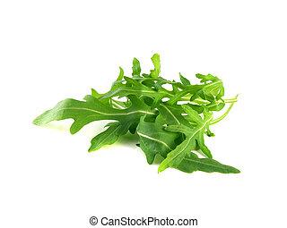 Arugula, rucola fresh heap leafs isolated on a white...