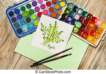 Arugula watercolor hand drawing illustration with paints
