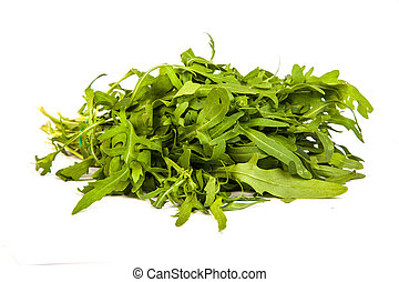 Arugula/rucola fresh heap leaf isolated on a white background