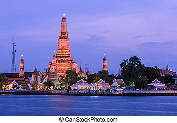 arun, bangkok, wat, crepuscolo, tailandia