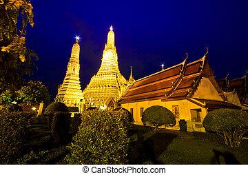 arun, tailandia, wat, luce, crepuscolo, bangkok