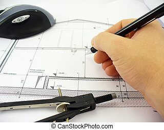 arxhitects hand - architects hand drawing on blueprints