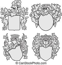 arystokratyczny, komplet, emblematy, no1