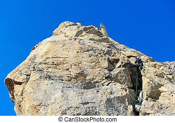 arywista, osiąganie, szczyt, od, góra
