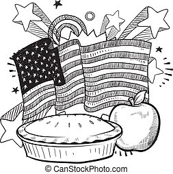 As American as apple pie - Doodle style American flag with...
