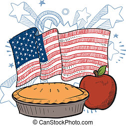As American as apple pie sketch - Doodle style apple pie...