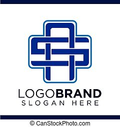 AS Initial Letter with Cross medical Logo vector
