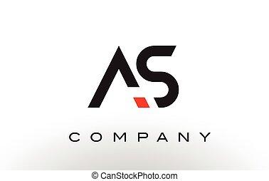 AS Logo.  Letter Design Vector.