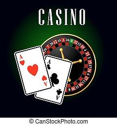as, roulette, symbole, casino, cartes, sur