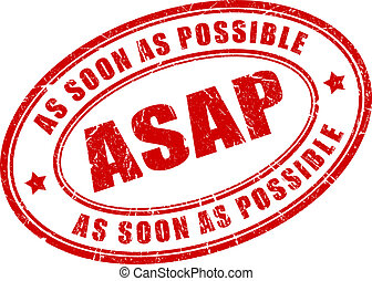 As soon as possible vector stamp illustration