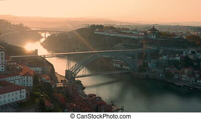 Aerial shot of the the double-deck metal arch bridge Dom Lu?s I Bridge, or Lu?s I Bridge that spans the River Douro between the cities of Porto and Vila Nova de Gaia