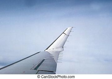asa, de, avião, ligado, céu azul, fundo