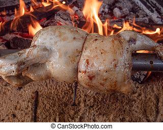asado a la parilla, acero, pollo, girar, inoxidable, rayo