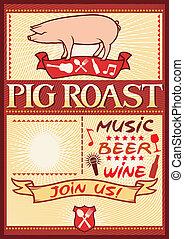 asado, cerdo, cartel