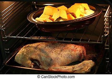 asado, /, cocido al horno, cena